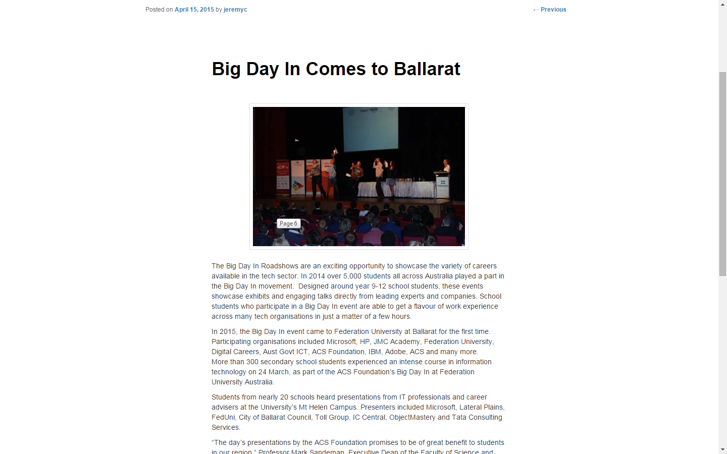 Big Day In Comes to Ballarat
